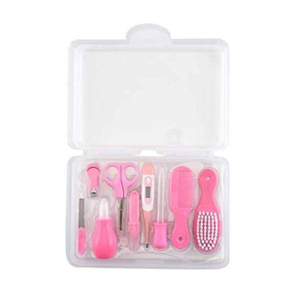 Koochie-Koo Baby Nail Hair Daily Care Kit Newborn Kids Grooming Brush and Manicure Set, Newborn Grooming Kit, Baby Care - 8 Pcs (Pink)