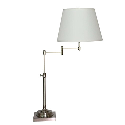 Allen + Roth Hillam 31-in Brushed Nickel Electrical Outlet On/Off Switch Swing-Arm Table Lamp with Fabric (On A Nickel Floor Lamp)