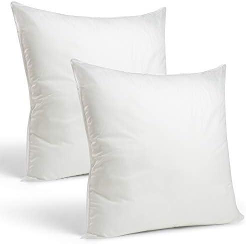 Amazon Com Set Of 2 26 X 26 Premium Hypoallergenic European Sleep Pillow Inserts Sham Square Form Polyester Standard White Made In Usa Home Kitchen