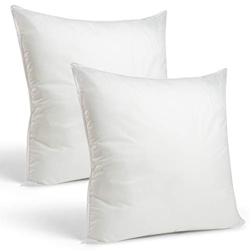 (Set of 2-26 x 26 Premium Hypoallergenic European Sleep Pillow Inserts Sham Square Form Polyester, Standard/White - Made in USA)