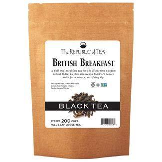 The Republic of Tea British Breakfast Black Full-Leaf Loose Tea, 3.5 oz Refill Bag   Steeps 50 Cups