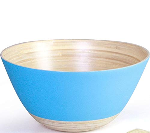 Handymake Bamboo Salad Bowl - Medium Size - Diameter 8 inch, Height 4.75 inch - Ideal For Serving Salads, Pasta, Cereals, Porridge, Sauces - Turquoise Color