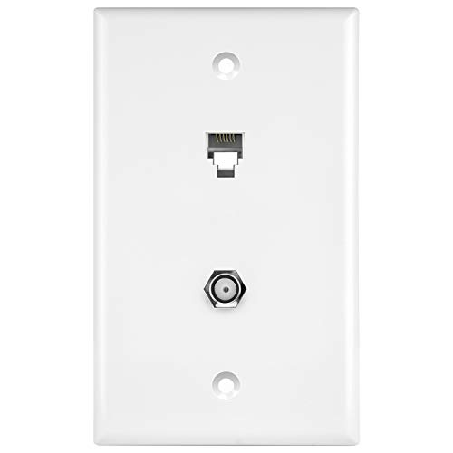 ENERLITES Combination Coaxial TV Cable / RJ11 Telephone Jack Wall Plate, F-Type F81 Connector, 6-Position 6-Conductor (2-Line Support), 1-Gang 4.50