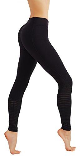 CodeFit Yoga Pants Power Flex Dry-Fit Burnout Mesh Contrast Full Length Leggings (S, CF719-BLK)