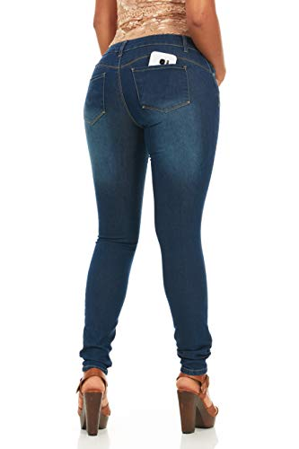 Cute Women's Juniors/Plus Butt Lifting Stretchy Skinny Jeans Juniors Sizes 9 Classic Wash
