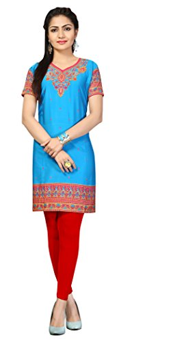 Indian Tunic Top Womens Kurti Printed Blouse India Clothing – Small, L 132
