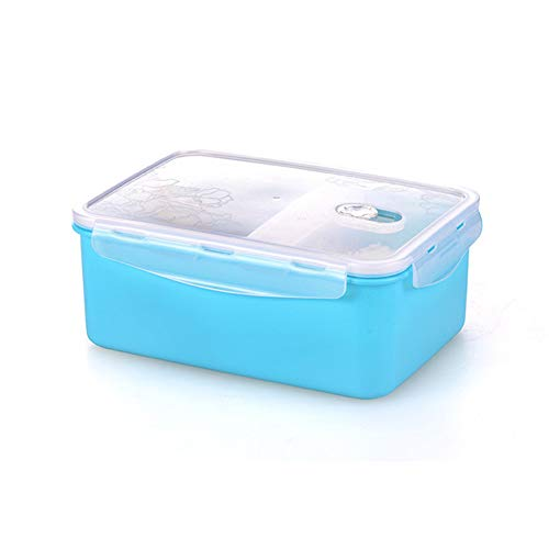 - JIAFZ Lunch Box Blue Four-Sided Buckle Seal PP Material Microwave Heating Portable Lunch Box Sealed Storage Box