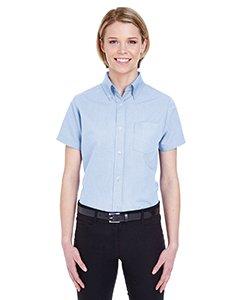 - UltraClub Womens Classic Wrinkle-Free Short-Sleeve Oxford (8973) -LIGHT BLUE -XL