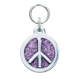 Glitter Circle Peace Tag Large - Includes Engraving