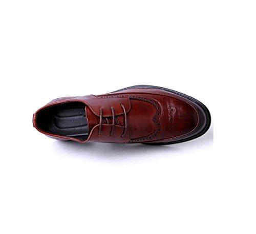 zmlsc Casual Hommes Chaussures en Cuir D'affaires Ronde Souple Point Point Ruban Saison Couleur Toile Sport Sandales Bottes Red FoEsDA3XDN