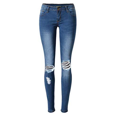 Delgado Adapta A Se De Pantalones Mujer Los Biran Vaqueros Blau Bastante Desgastados Rasgados Elásticos Casuales Mezclilla Delgados vSxqwPO7x