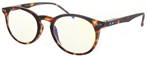 Techies Professor Style Computer Glasses Featuring Techno Blue Light UV Blocking Anti-Glare and Reflection Lens (Style 1 - Tortoise w/Spring - Fiori Light 2