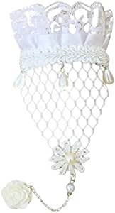 Magic-clover Handmade Jewellery White Lace Bracelets Ring Chain Set for Wedding Party