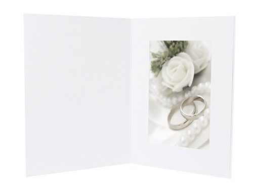Golden State Art Pack of 50, Cardboard Photo Folders for 4x6 Photos - Angel Design Front Decoration - White - Portrait/Vertical Display