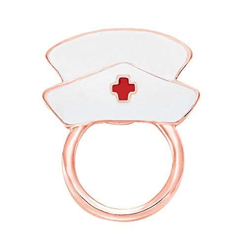 - NOUMANDA White Enamel Nurse Hat Eyeglass Holder Safety Magnetic Pin Holder (Rose Gold)