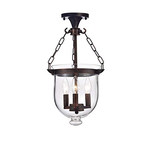 Arabella Antique Copper Bell Jar Glass Lantern Chandelier ()