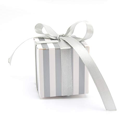 White Silver Stripe - GAKA Candy Box Bulk 2x2x2 inch with Ribbon, Silver and White Stripes Design for Wedding Candy Box,Baby Shower Box,DIY Chocolate Cookies Case,Birthday Party Supplies Favor Box Party Favors Pack of 50