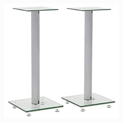 HomyDelight Speaker Stand & Mount, Speaker Stands 2 pcs Tempered Glass 1 Pillar Design Silver