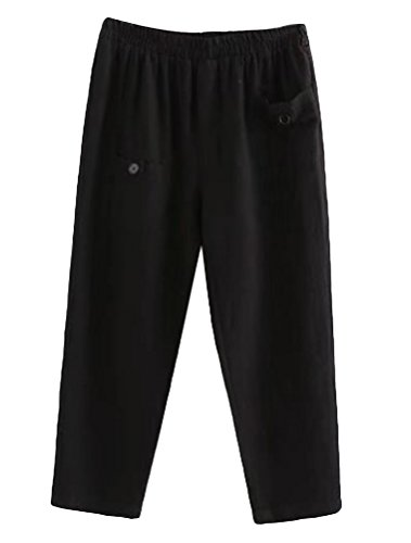 Minibee Women's Elastic Waist Casual Crop Linen Pull On Pants Black ()