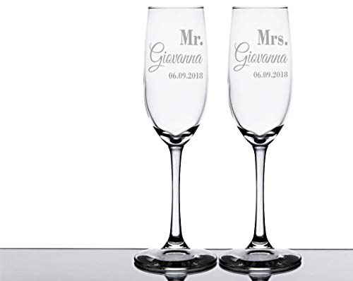 (Mr. and Mrs. Engraved Wedding Personalized Flutes Couples Champagne Glasses 30th 50th Anniversary Mom Dad Gift)