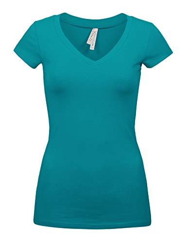 Womens Basic Aqua Marine Colors Slim Fit V-Neck Top (1001-AQUA (Juniors Marines T-shirt)