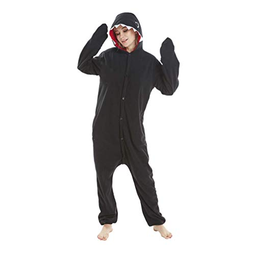 (LeaveLive Cute Animal Costume Adult Onesie Pajama, Black Shark,)