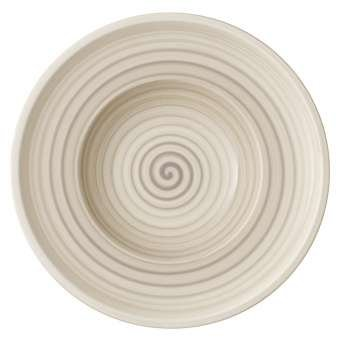 Artesano Nature Beige Rim Soup Bowls Set of 6 by Villeroy & Boch - Premium Porcelain - Made in Germany - Dishwasher and Microwave Safe - 9.75 Inches