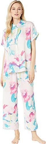 N by Natori Women's Pastel Blossom Short Sleeve PJ Aqua Floral Large