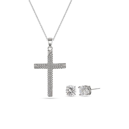 18k White Gold Plated Sterling Silver Cross Necklace with Round Diamond Cubic Zirconia Stud Earrings Elegant and lovely Jewelry Set for Women Christmas,Birthdays,Anniversaries, Mother's Day Gifts ()
