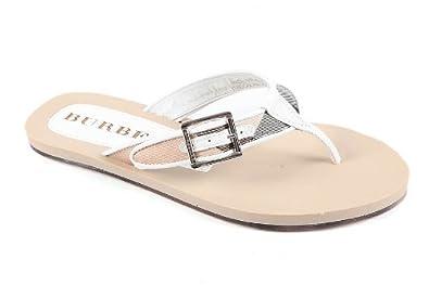 6e15c1eee3a BURBERRY Tongs Femme en Cuir Blanc  Amazon.fr  Chaussures et Sacs