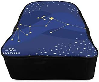 Aquarius Blue Temperament Constellation Waterproof Backpack College Bag For Girls Casual Bags Print Zipper Students Unisex Adult Teens Gift