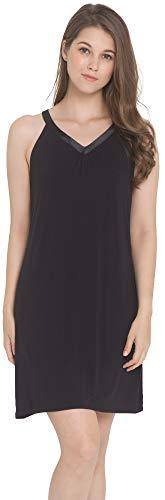 LazyCozy Women's Sleepwear Bamboo Nightgown Sleeveless Nightshirt, Black, Large