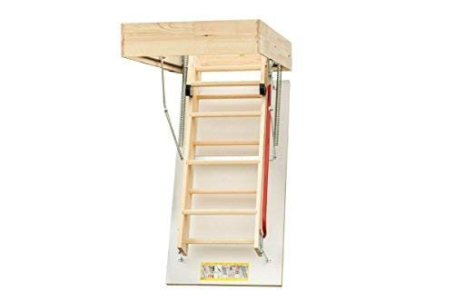 EcoThermo Wooden Timber folding loft ladder & insulated hatch 55cm x 111cm (frame size 53 x 109cm) H up to 280cm Sunlux