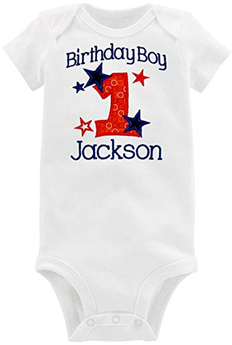 Embroidered First Birthday Onesie Bodysuit for Baby Boys Personalized with Your Baby Custom Name (18 Months Short Sleeve, Red & Navy Blue) ()