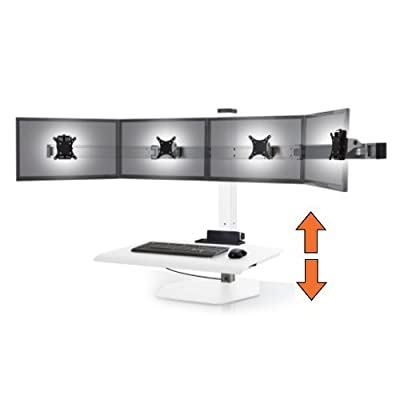 Stand Steady Winston Workstation Quad Monitor Mount Sit-Stand Desk (Innovative WNST-4) | Four Monitor Standing Desk Workstation Converter with VESA Mount| Easy & Height Adjustable! (4 Monitor/White)