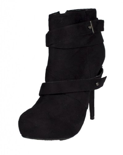 Bito! Delicious Criss Cross Strap Hidden Platform Heel Ankle Booties Side Zipper Black Faux Suede OECTnbnXQD