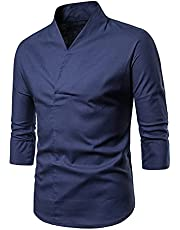 Mannen Solid Color Cotton Linnen T-Shirts V-Hals 3/4 Mouw Slim-Fit Tees Button Hipster Stand Collar Chef Yoga Tops