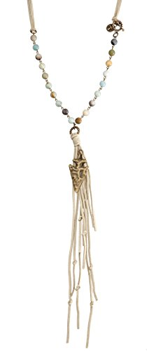 Natural Stone Bead and Tan Leather With Burnished Gold Arrowhead and Leather Fringe (Bead Tan Head)