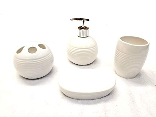 - Empire Home Ribbed 4-Piece Bathroom Accessory Ceramic Set - Lotion Dispenser/Tumbler / Toothbrush Holder/Soap Dish (White)