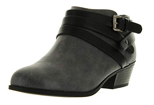 SODA Alum Womens Stylish Buckle Strap Dress Ankle Bootie,Grey Black,8