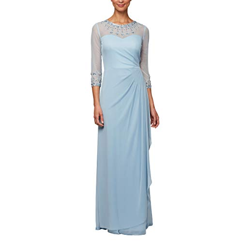 s Long A-Line Sweetheart Neck Dress (Petite and Regular Sizes), Sky, 12P ()