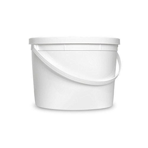 Gallon Plastic Container (1 Gallon White Bucket & Lid - Set of 5 - Durable All Purpose Pail - Food Grade - Plastic)