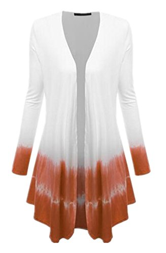 Punto Coat BESTHOO Largo Mujer Color Degradado Stitch De Patchwork Tops Larga naranja Manga Abrigos Bonitas Pullover Outwear De Suelto Knitted Abrigos Cardigan pWZ7FnpcR