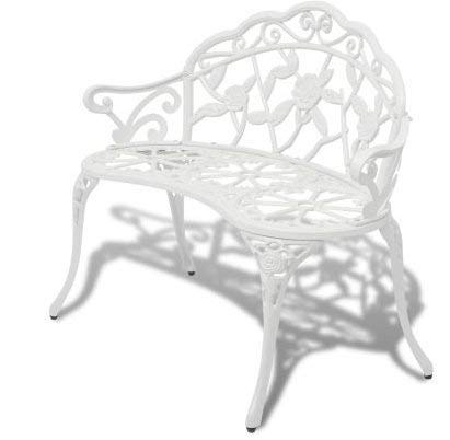 Incredible Amazon Com Skb Family Garden Bench White Cast Aluminum Inzonedesignstudio Interior Chair Design Inzonedesignstudiocom