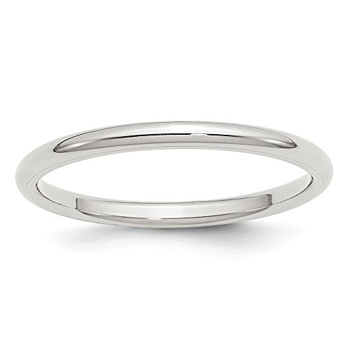 (JewelrySuperMart Collection Sterling Silver 2mm Plain Classic Comfort-fit Wedding Band - Size 6)