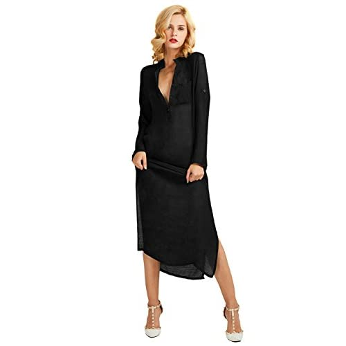 95cd1c36eed outlet Ninimour Women s Long Sleeve Deep V Slit Maxi Party Dress ...