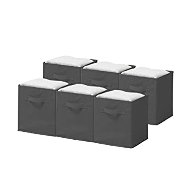Sorbus Foldable Storage Cube Basket Bin, 6 Pack, Grey