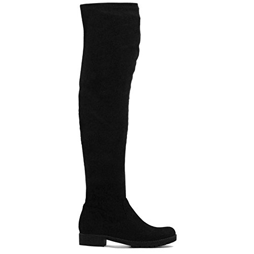 Womens Ladies Faux Suede Thigh High Over The Knee High Platform Rubber Grip Sole Stretch Boots - P88 Black