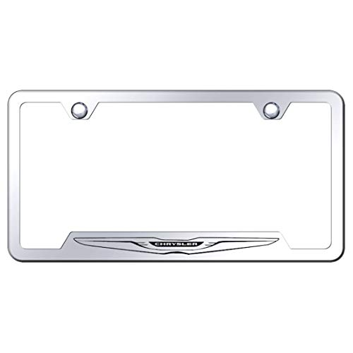 Chrysler Stainless Steel License Plate Frame Logo Etched Chrome Made in USA Frame Mirror Bright Chrome (Chrysler License Plate Frame)