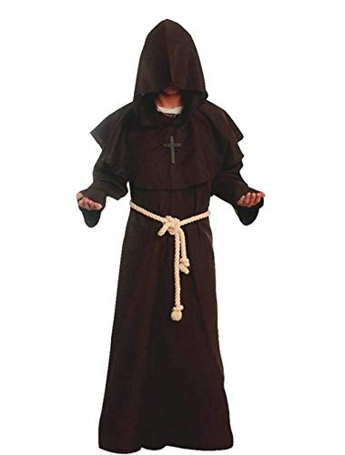 Medieval Renaissance Friar Cowl Robe Hooded Monk Robe Costume Brown -